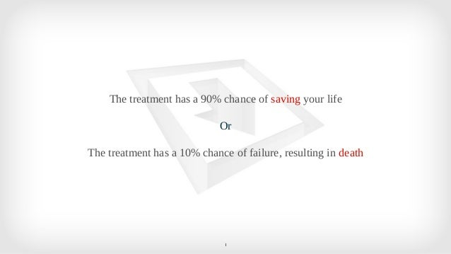 1 The treatment has a 90% chance of saving your life Or The treatment has a 10% chance of failure, resulting in death