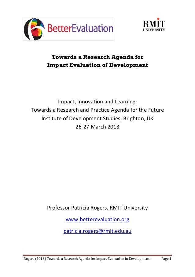 Rogers (2013) Towards a Research Agenda for Impact Evaluation in Development Page 1Towards a Research Agenda forImpact Eva...