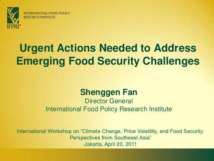 Urgent Actions Needed to Address Emerging Food Security Challenges<br />Shenggen FanDirector General<br />International Fo...