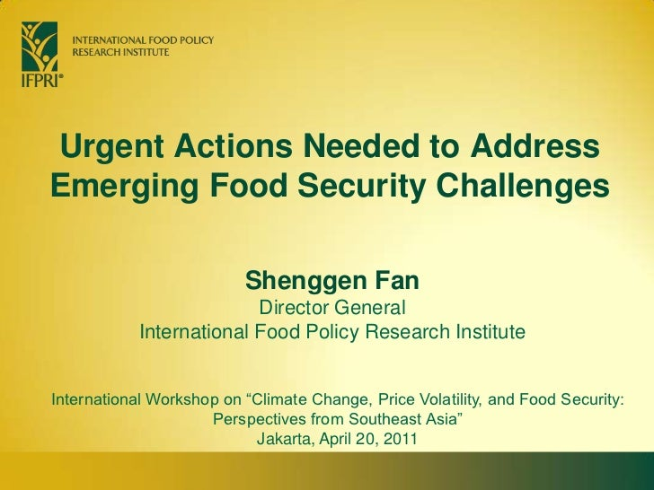 Urgent Actions Needed to Address Emerging Food Security Challenges