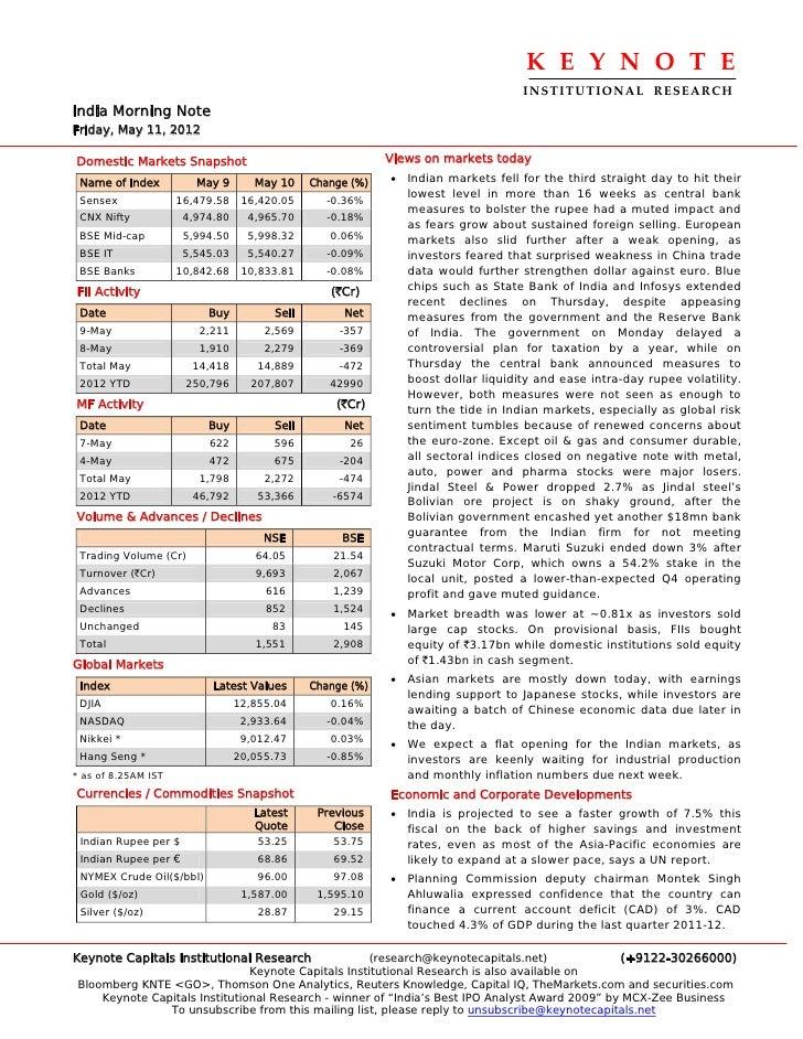Keynote capitals india morning note may 11-'12