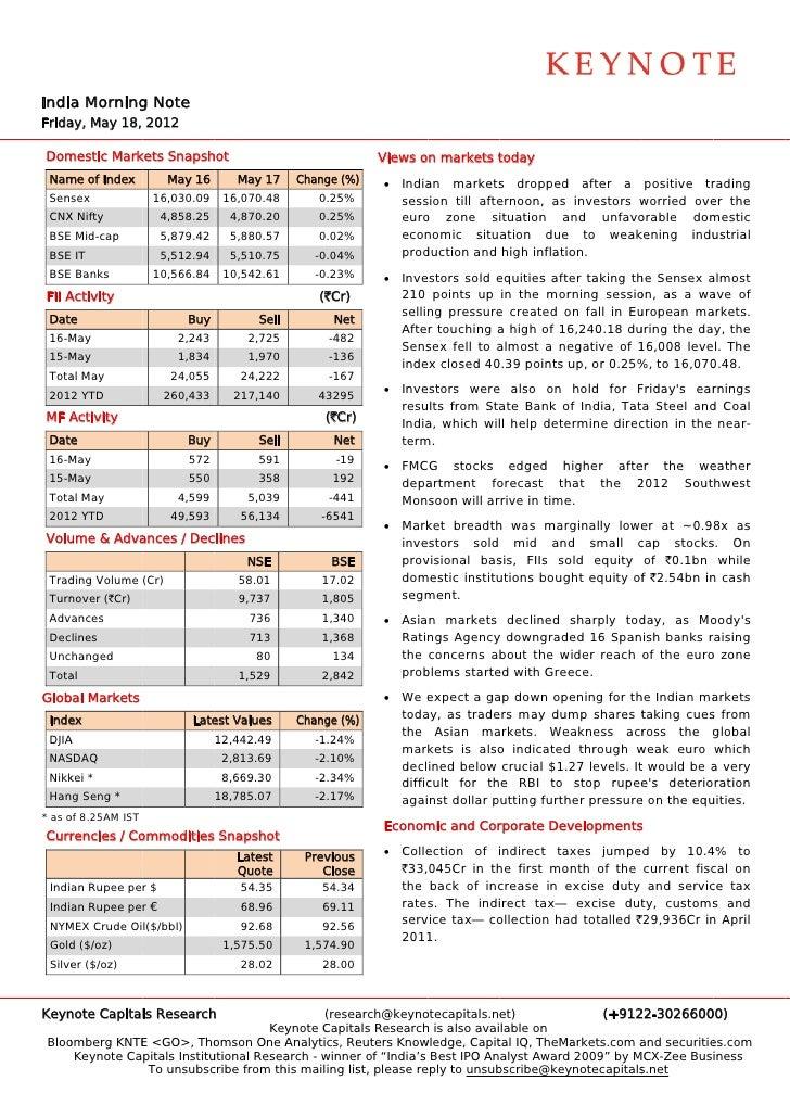 Keynote capitals india morning note may 18-'12