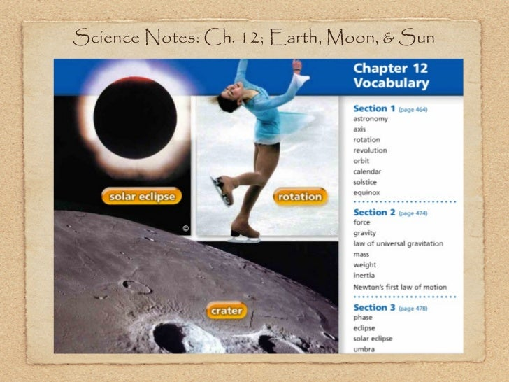 Science Notes: Ch. 12; Earth, Moon, & Sun