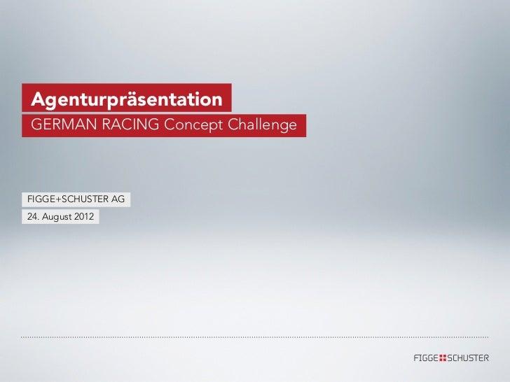 AgenturpräsentationGERMAN RACING Concept ChallengeFIGGE+SCHUSTER AG24. August 2012
