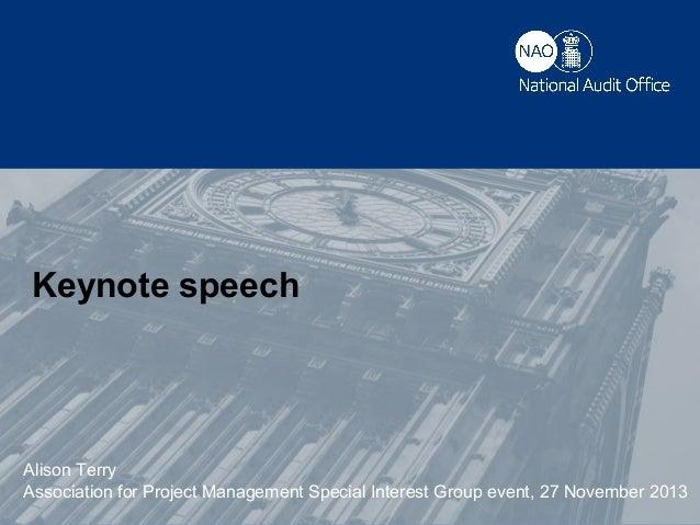 Keynote speech (Alison Terry, NAO)
