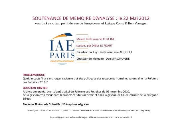SOUTENANCE DE MEMOIRE D'ANALYSE : le 22 Mai 2012            version keynotes : point de vue de l'employeur et logique Comp...