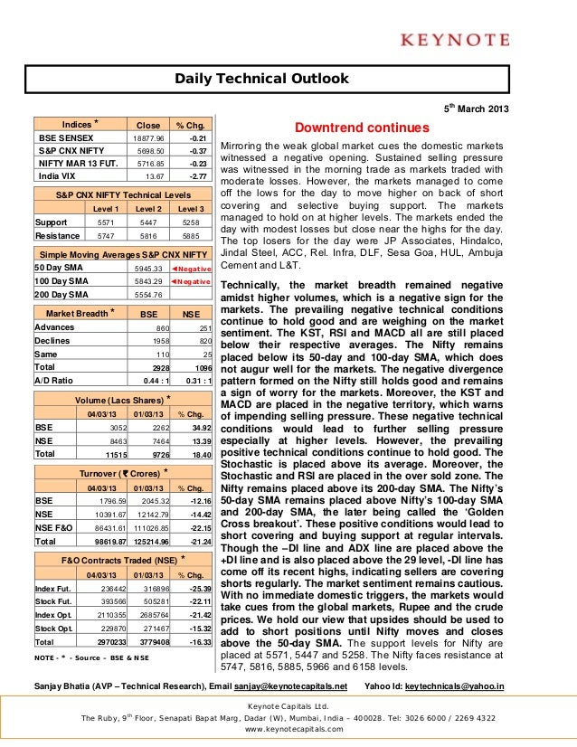 Keynote technical daily report for 050313