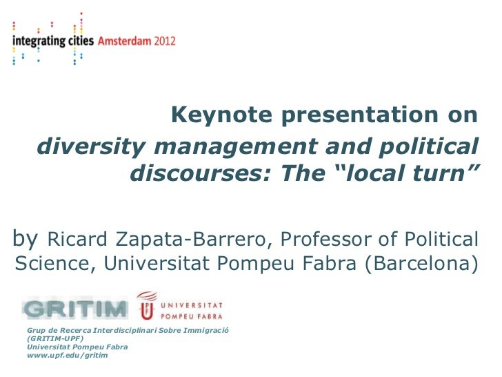 """Keynote presentation on   diversity management and political           discourses: The """"local turn""""by Ricard Zapata-Barrer..."""