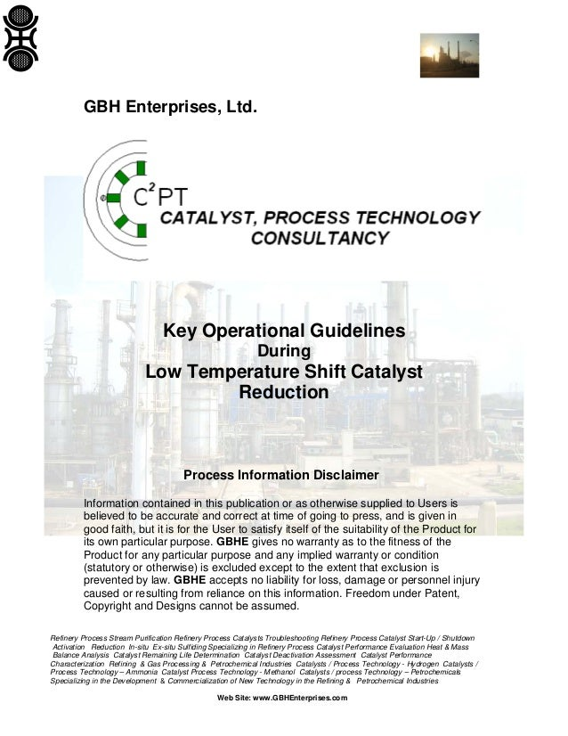 Key Operational Guidelines - Low Temperature Shift Catalyst Reduction
