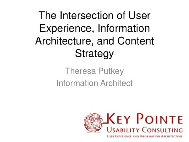The Intersection of User Experience, Information Architecture, and Content Strategy Theresa Putkey Information Architect