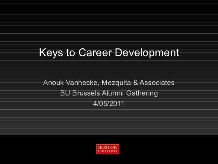 Keys to Career Development Anouk Vanhecke, Mezquita & Associates BU Brussels Alumni Gathering 4/05/2011