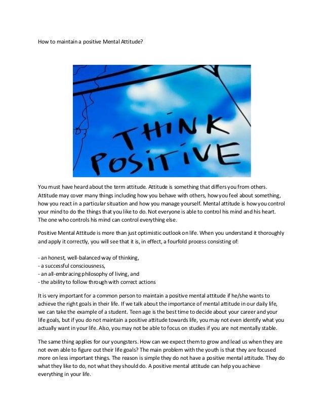 How to maintain a positive mental attitude