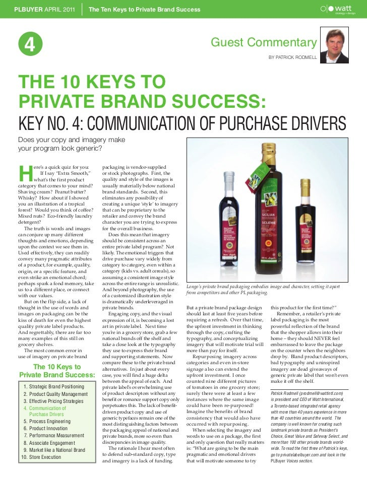 PLBUYER APRIL 2011                     The Ten Keys to Private Brand Success   4                                          ...