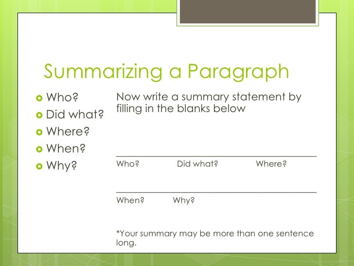 Summarize paragraphs
