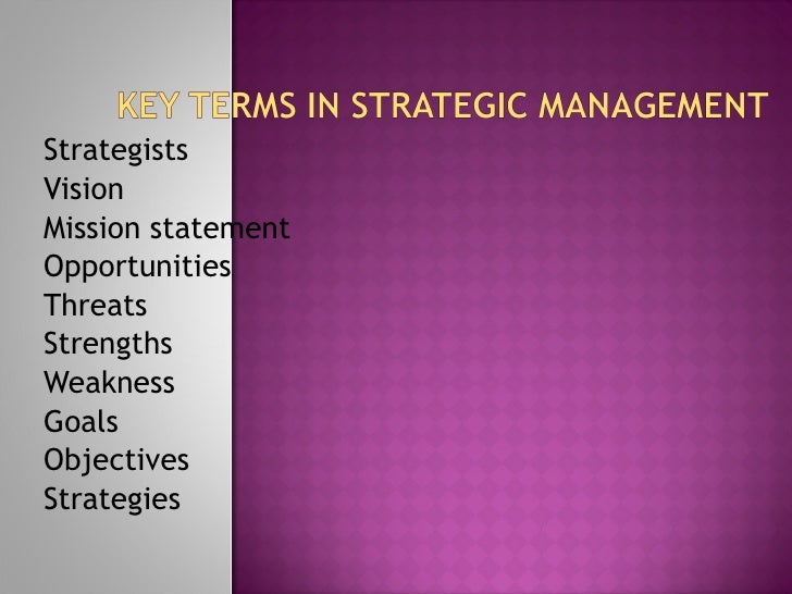 Key terms of management