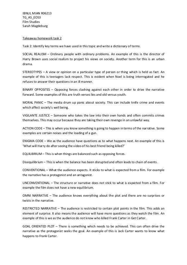 IBNUL MIAN R06213 TG_AS_EOS3 Film Studies Sarah Magdeburg  Takeaway homework task 2 Task 2: Identify key terms we have use...