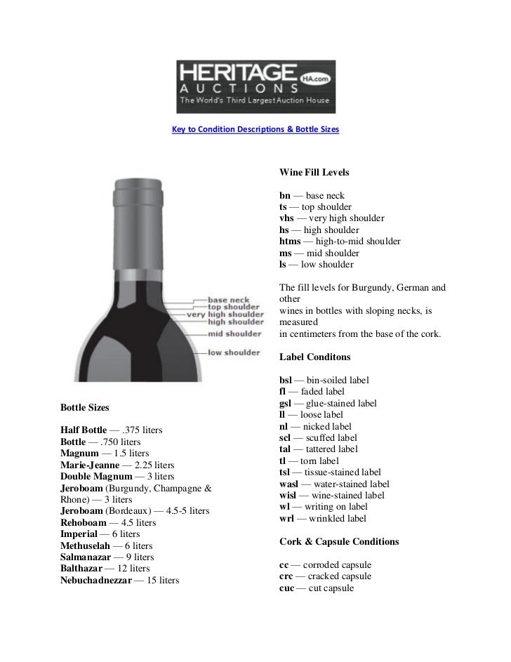 Key to Condition Descriptions & Bottle Sizes                                                    Wine Fill Levels          ...