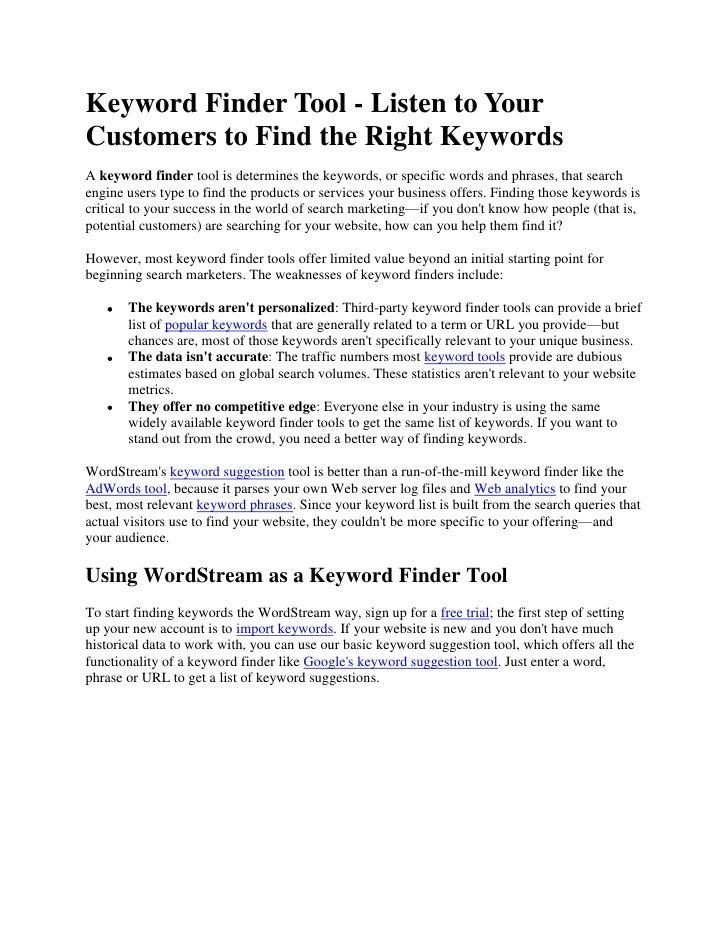 Keyword Finder Tool