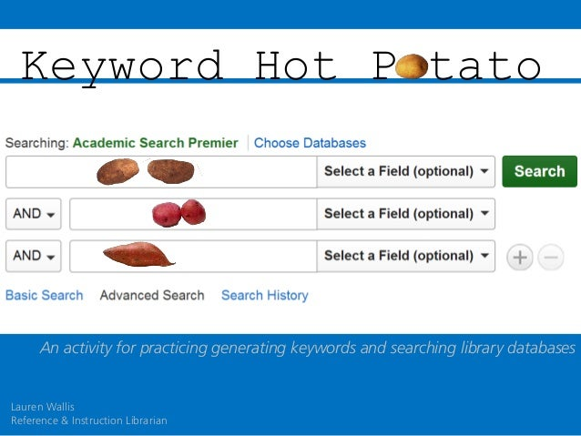 Keyword Hot P tato  An activity for practicing generating keywords and searching library databases  Lauren Wallis Referenc...