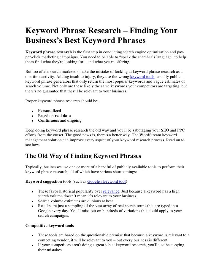 Keyword Phrase Research – Finding Your Business's Best Keyword Phrases<br />Keyword phrase research is the first step in c...