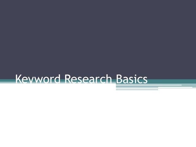 Keyword Research Basics