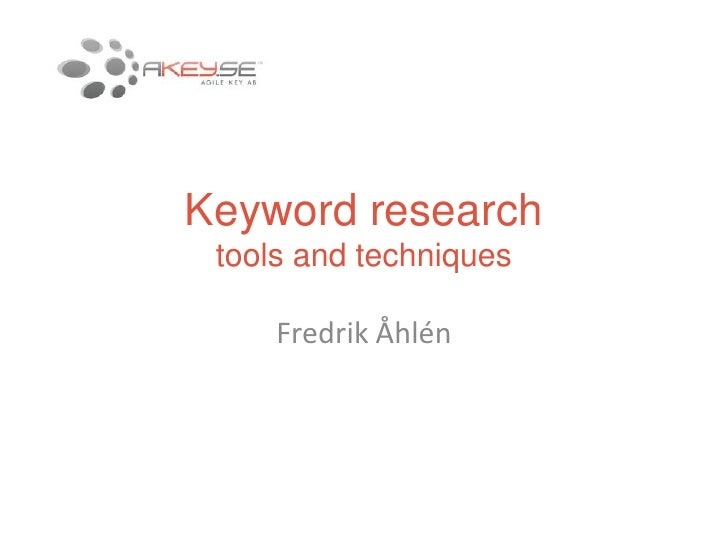 Keyword research Fredrik Åhlén