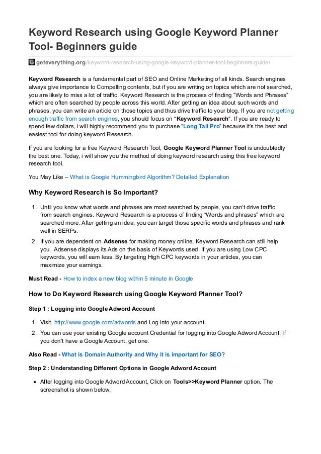 Keyword Research Guide using Google Keyword Planner Tool