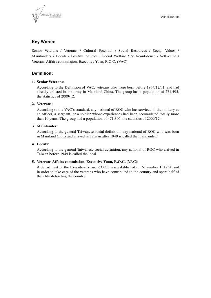 2010-02-18     Key Words: Senior Veterans / Veterans / Cultural Potential / Social Resources / Social Values / Mainlanders...