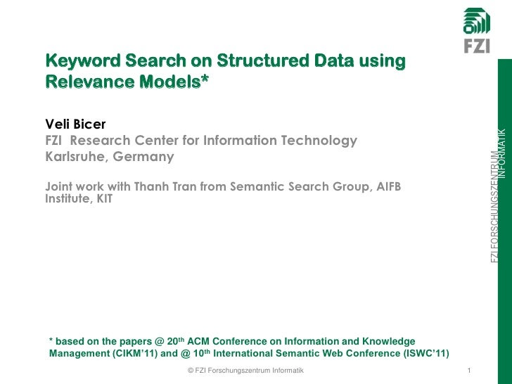 Keyword Search on Structured Data using Relevance Models