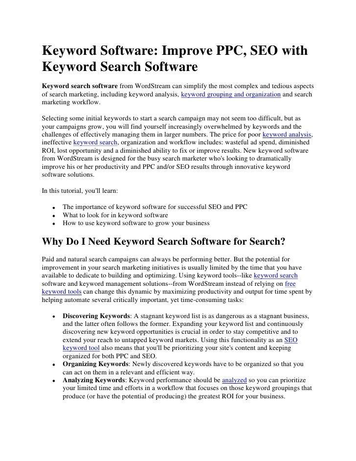 Keyword Search Software