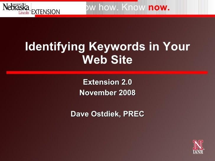 UNL Extension 2.0 Presentation on keywords