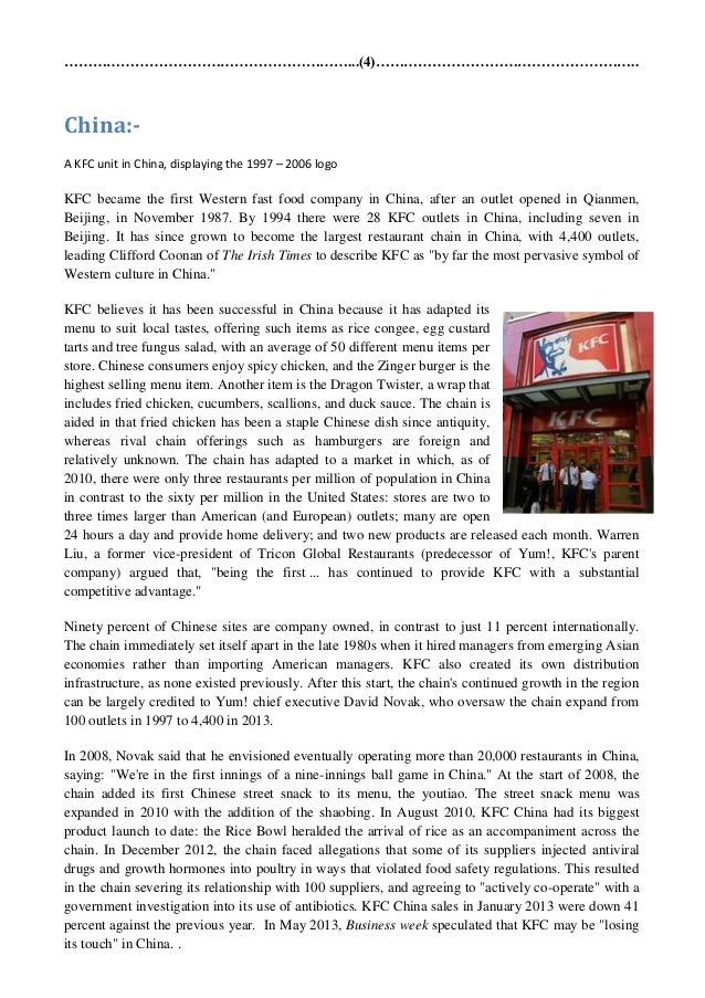 kfc business model essay Essay on the success of kfc china - innovation is an important aspect of business today brands, chooses to be innovative for their business model.