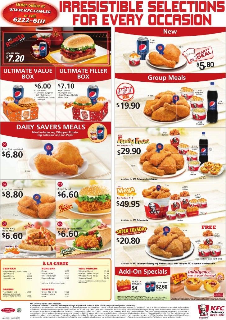 Singapore KFC Delivery Menu