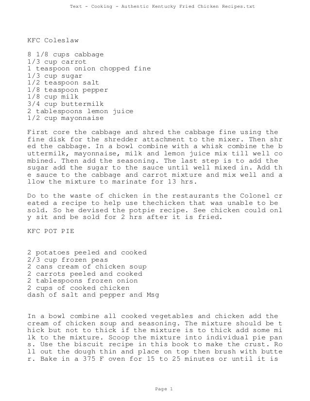 Text - Cooking - Authentic Kentucky Fried Chicken Recipes.txtKFC Coleslaw8 1/8 cups cabbage1/3 cup carrot1 teaspoon onion ...
