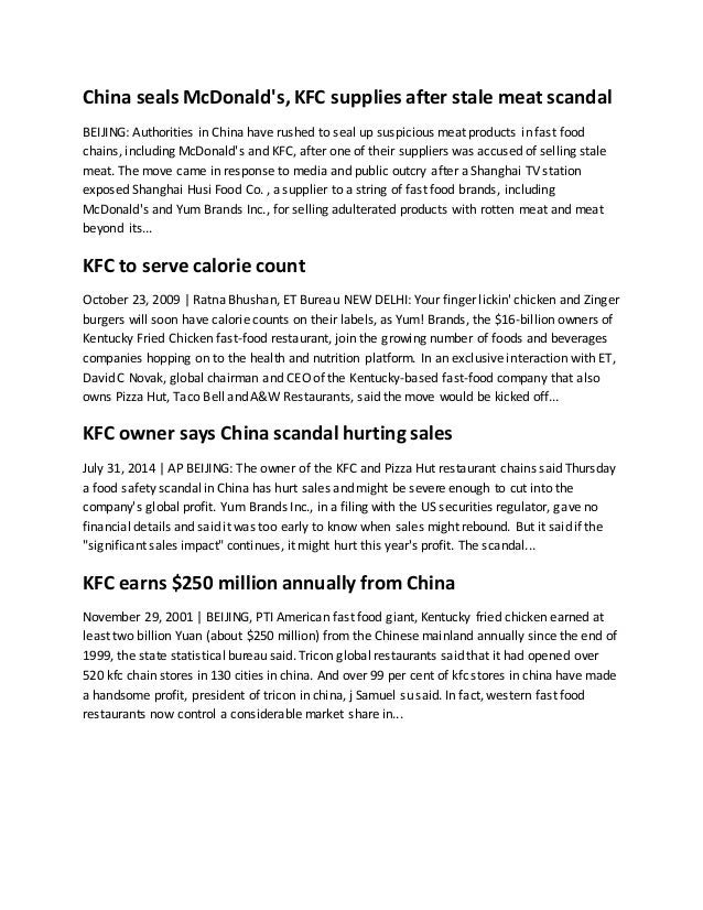 case study kfc china strategies Case study yum - kfc's in china introduction homogenization has made it easy for fast-food joints to circle the globe, spitting out carbon copies of themselves, their burgers, and their fries along the way.