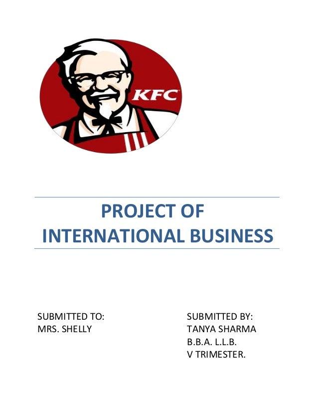 Kfc project of intrntnl business