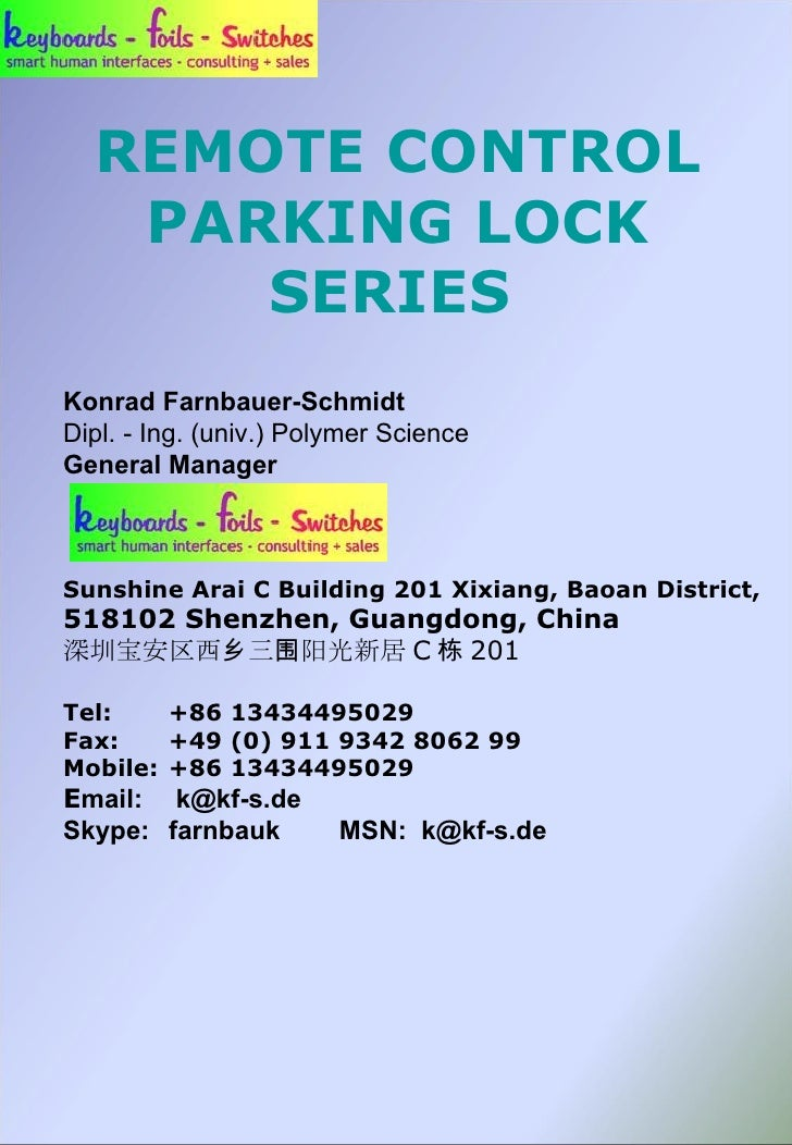 Remote Controlled Parking Locks