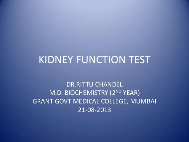 KIDNEY FUNCTION TEST DR.RITTU CHANDEL M.D. BIOCHEMISTRY (2ND YEAR) GRANT GOVT MEDICAL COLLEGE, MUMBAI 21-08-2013