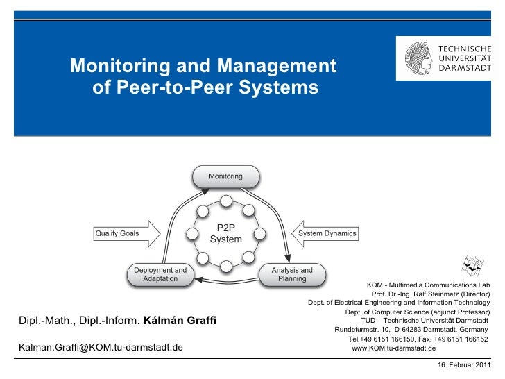 Monitoring and Management  of Peer-to-Peer Systems
