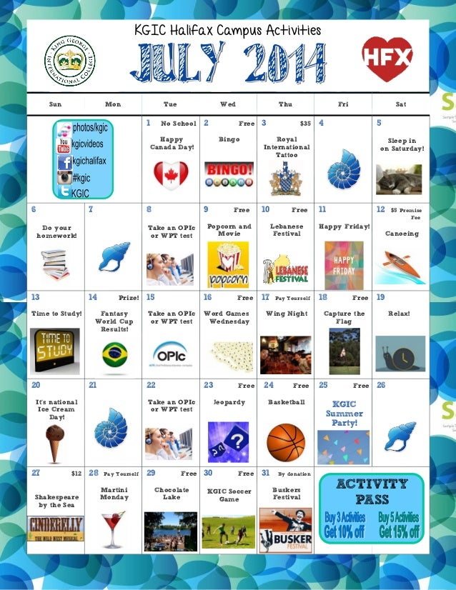 KGIC Halifax- July Activities