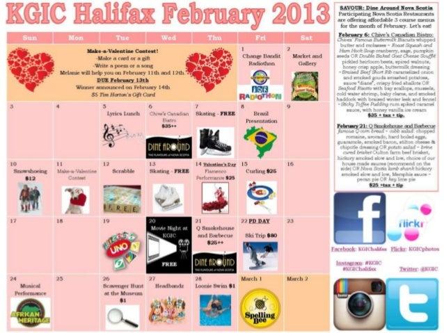 KGIC Halifax Campus Activity Calendar for February 2013
