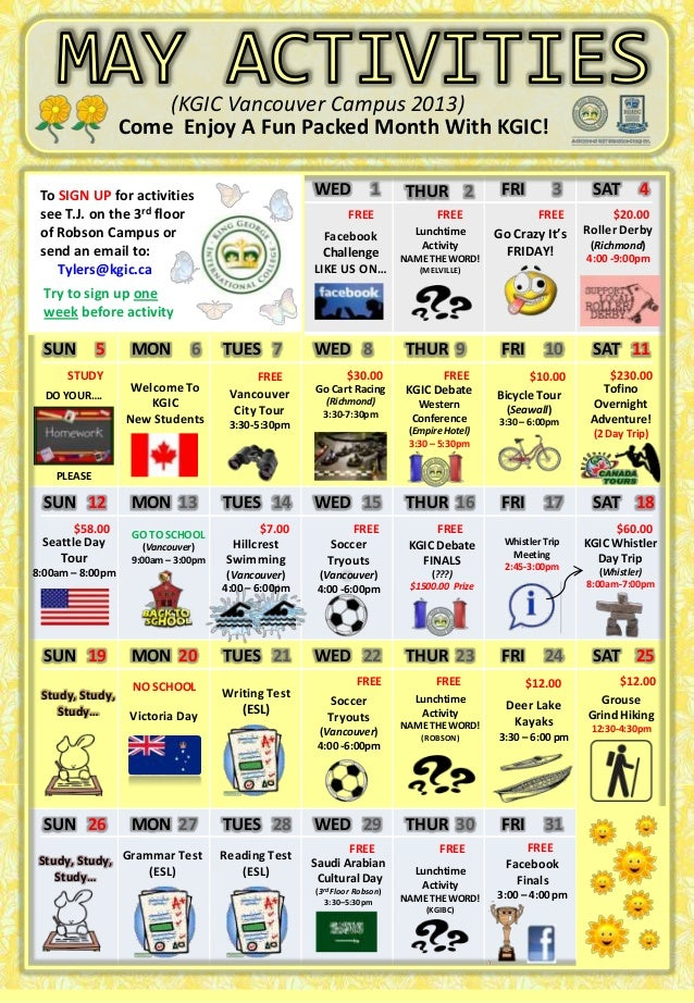 Come Enjoy A Fun Packed Month With KGIC!TUES 1 WED 1 THUR 2 FRI 3 SAT 4SUN 5 MON 6 TUES 7 WED 8 THUR 9 FRI 10 SAT 11SUN 12...