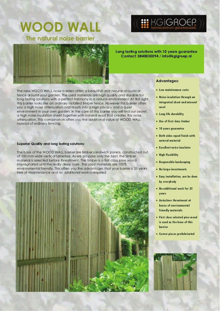 WOOD WALL     The natural noise barrier                                                                 Long lasting solut...