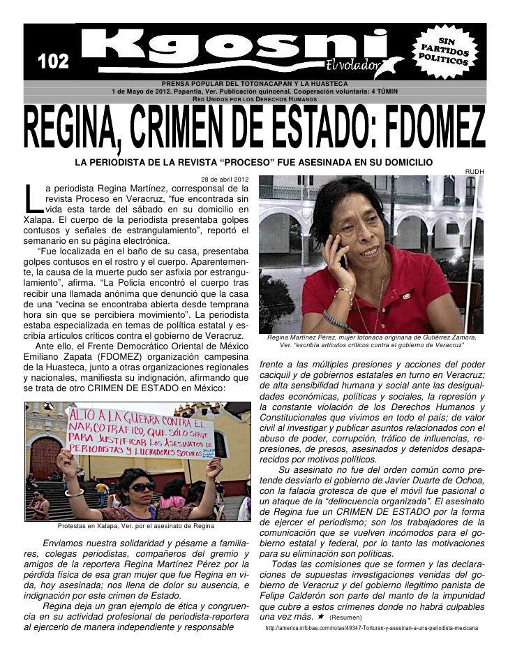 PRENSA POPULAR DEL TOTONACAPAN Y LA HUASTECA                         1 de Mayo de 2012. Papantla, Ver. Publicación quincen...
