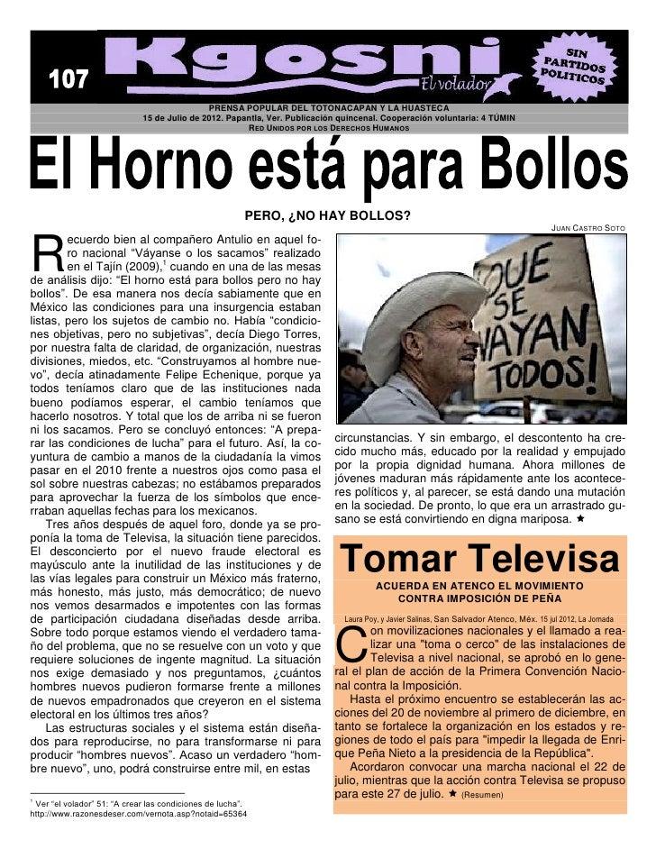 PRENSA POPULAR DEL TOTONACAPAN Y LA HUASTECA                             15 de Julio de 2012. Papantla, Ver. Publicación q...