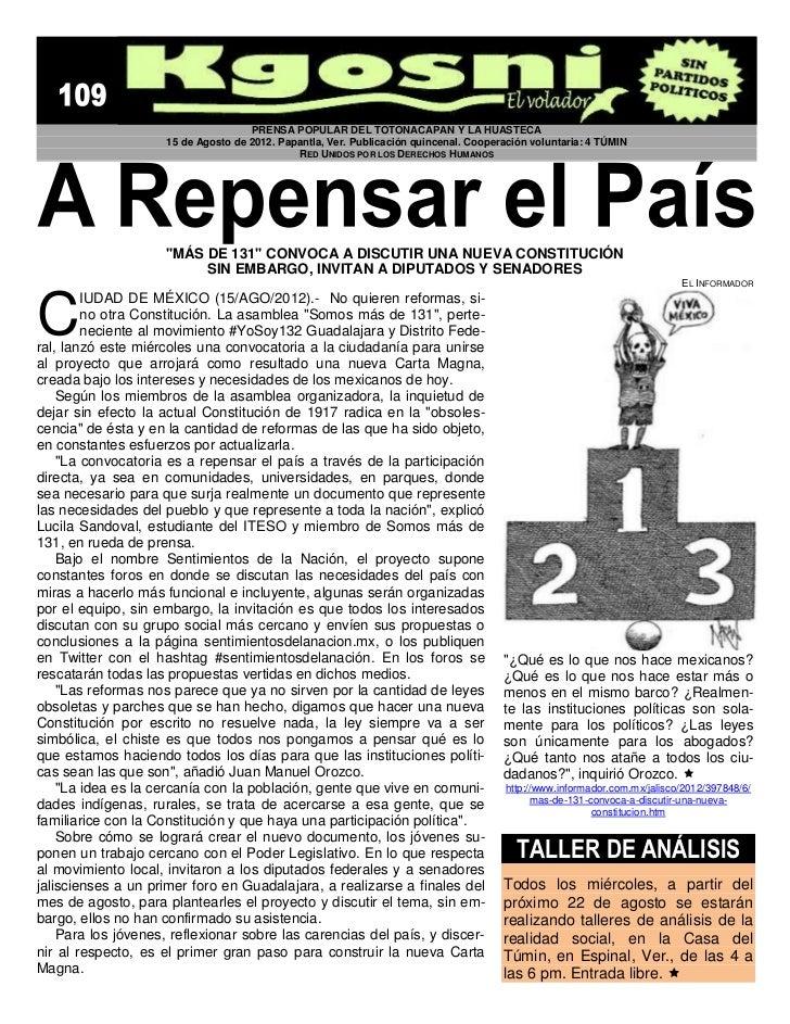 PRENSA POPULAR DEL TOTONACAPAN Y LA HUASTECA                     15 de Agosto de 2012. Papantla, Ver. Publicación quincena...