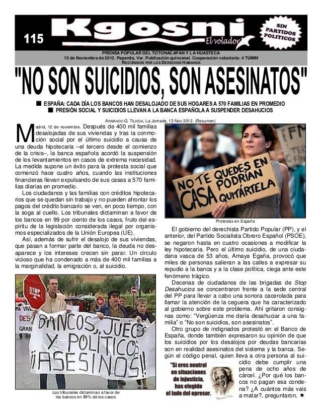 Kgosni 115 no son suicidios