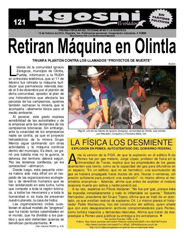 PRENSA POPULAR DEL TOTONACAPAN Y LA HUASTECA                     15 de Febrero de 2013. Papantla, Ver. Publicación quincen...