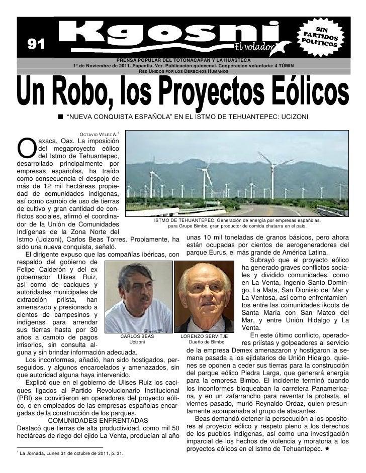 PRENSA POPULAR DEL TOTONACAPAN Y LA HUASTECA                         1º de Noviembre de 2011. Papantla, Ver. Publicación q...