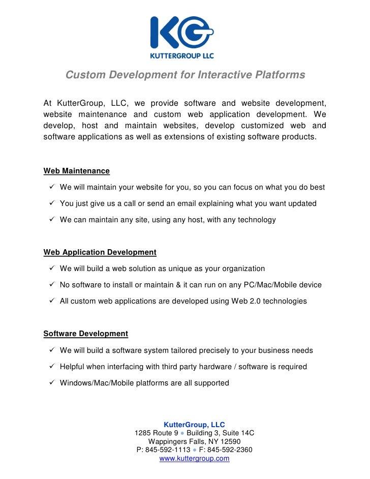 Custom Development for Interactive Platforms  At KutterGroup, LLC, we provide software and website development, website ma...